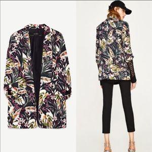 NWOT!  Zara Floral Tropical Long Open Blazer - M